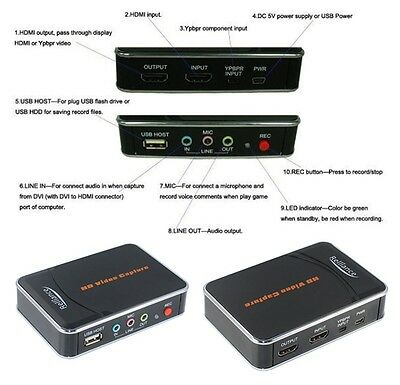Y196 New 1080P Game Capture HD Video Recorder Box Records into USB Flash/HDD