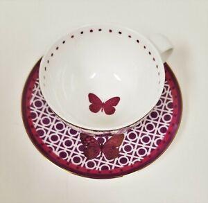 2-Pieces-Set-PORTOBELLO-BY-DESIGN-Bone-China-violet-or-papillon-tasse-a-the-soucoupe
