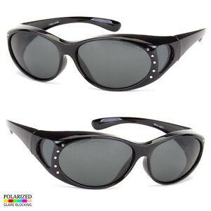 POLARIZED-Rhinestone-cover-put-over-Sunglasses-wear-Rx-glass-fit-driving-Black
