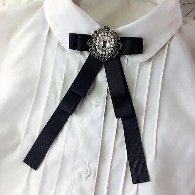 Vintage Style Crystal Rhinestone Tied Black Bow Brooch Pin