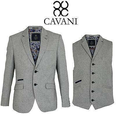 Mens Cavani Formal Casual Suede Elbow Patches Lined Jacket Blazer Waistcoat