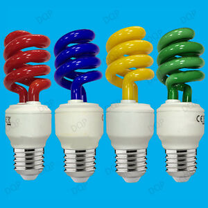 15W Coloured Low Energy CFL Spiral Party Light Bulbs ...