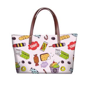 Ladies-Womens-Food-Print-Shoulder-Bag-Lovely-Hand-Tote-Large-Shopping-Handbag
