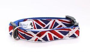 Union-Jack-collar-de-perro-o-plomo-hecho-A-Mano-Reino-Unido-Mascota-Perro-Boutique