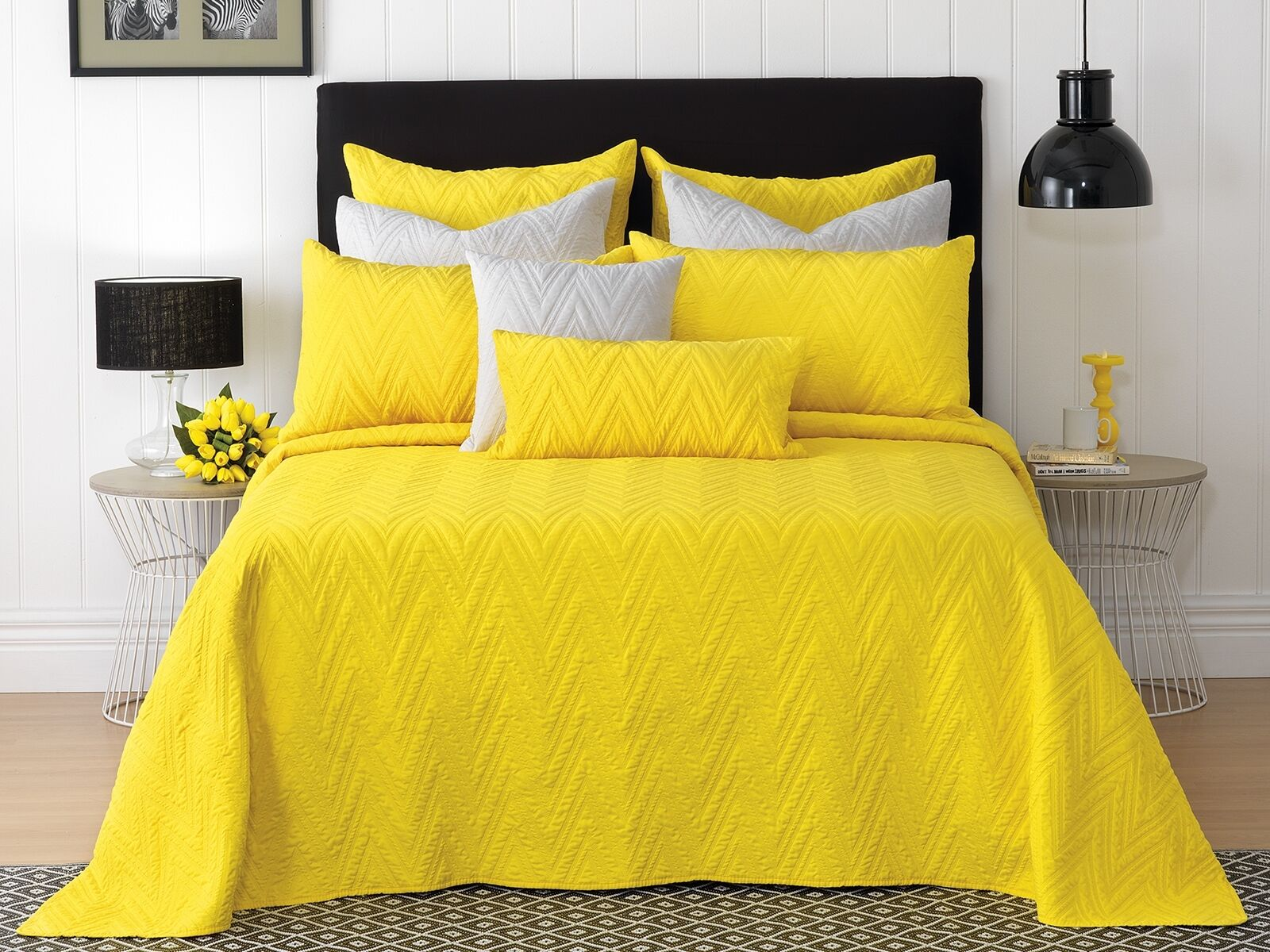 White Hudson Vibrant Yellow Fully Reversible Bedspread Set in All Sizes