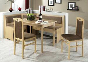 Eckbankgruppe Bora Buche Braun 165x125 Cm 2x Stuhl Esstisch Eckbank