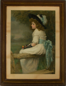 After-Edward-Patry-Large-Framed-Early-20th-Century-Lithograph-Daughter-of-Eve