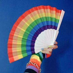 Regenbogen-Faltfaecher-Kunststoff-Faltfaecher-Haushaltsdekoration-Craft-Dekor-E5N3