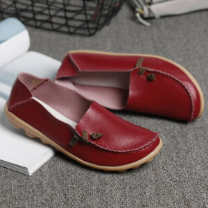 Women-039-s-Casual-Loafers-Driving-Peas-Moccasin-Leather-Flats-Shoes-Single