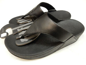 38a292f950993a Image is loading FITFLOP-WOMENS-SANDALS-LULU-LEATHER-TOEPOST-BLACK-SIZE-