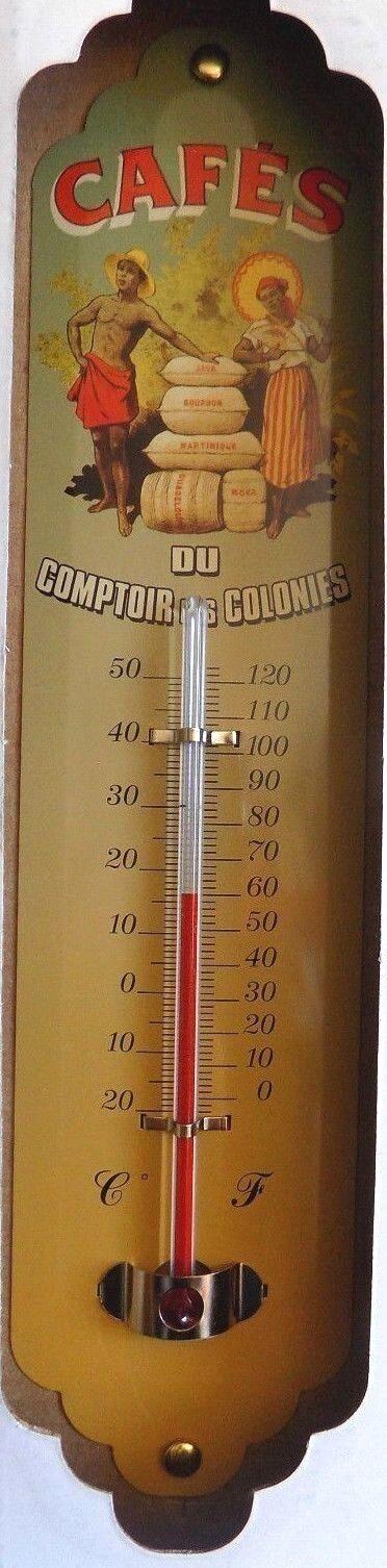 THERMOMETRE métal publicitaire vintage  CAFES DU COMPTOIR   30 X 8 CM