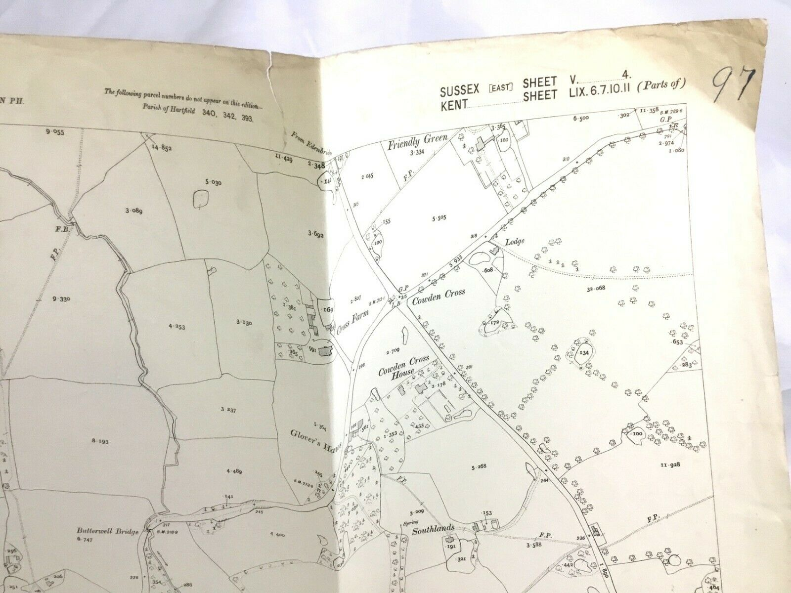 59NW west old map Kent 1947 Cowden
