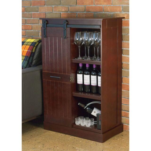 New Red Clic Barn Door Wine Bottle Design Storage Rack Cabinet Kitchen Bar