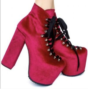 5fc87e5244f Image is loading Unif-Hellbound-Platform-Booties-Boots-Sz-6-Red-