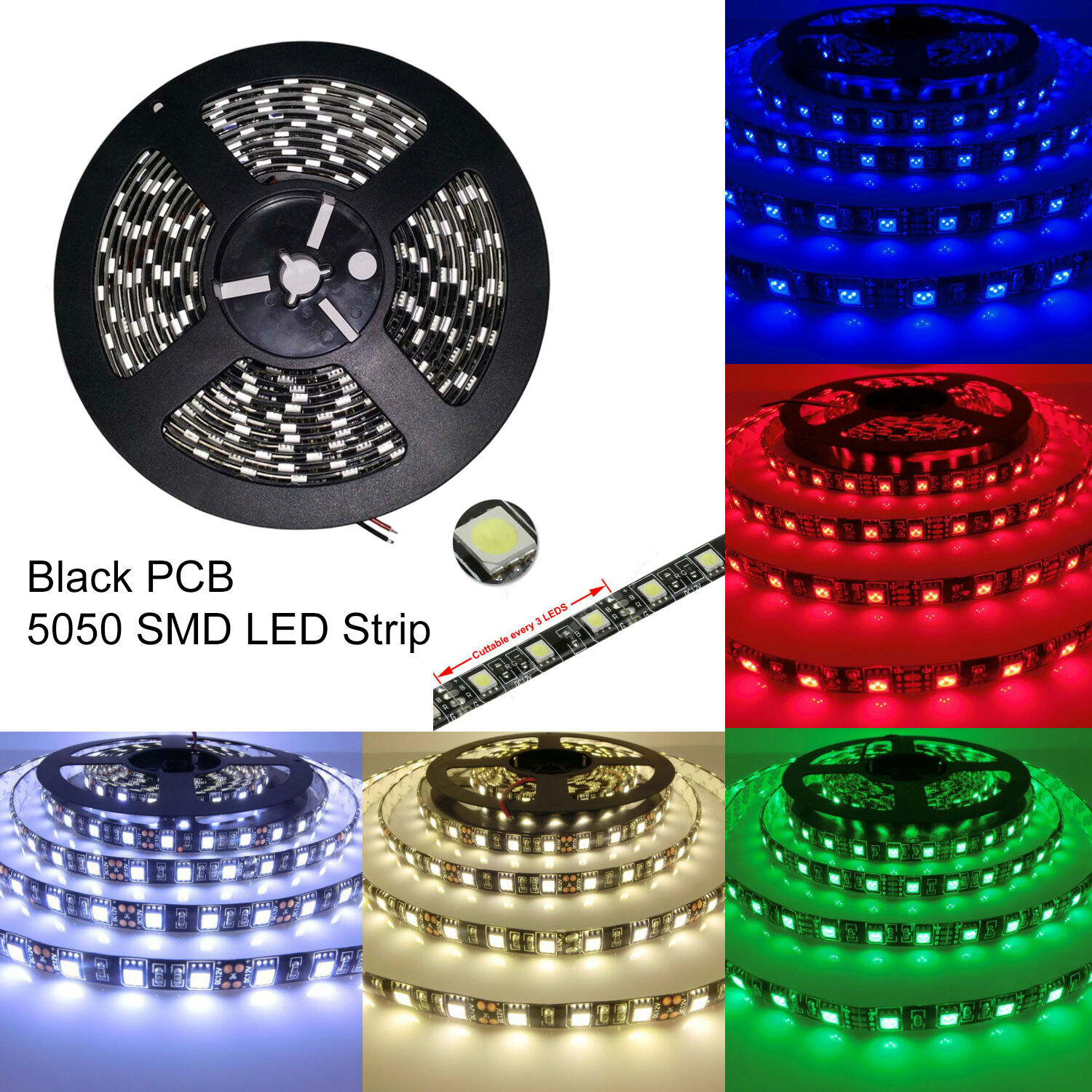 black pcb 5m 5050 smd 300 waterproof led flexible strip lights lamp 12v ebay. Black Bedroom Furniture Sets. Home Design Ideas