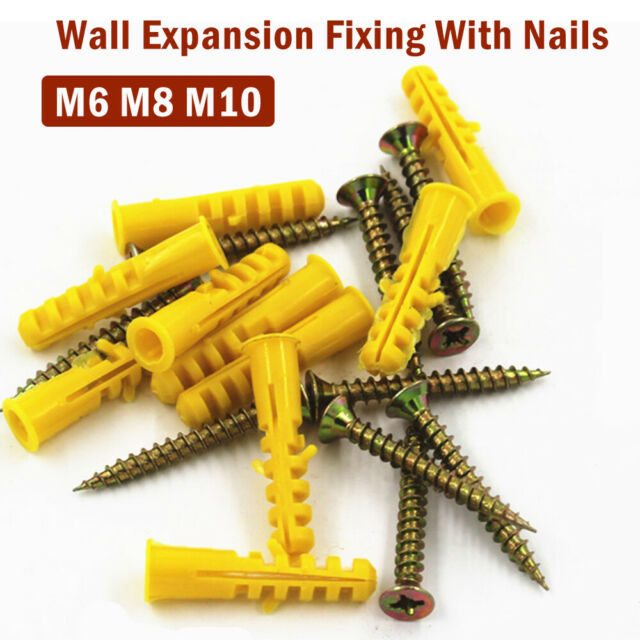 Yellow Plastic Expansion Plug Anchor Pipe Wall Screw 30/40/50mmTube Hardware