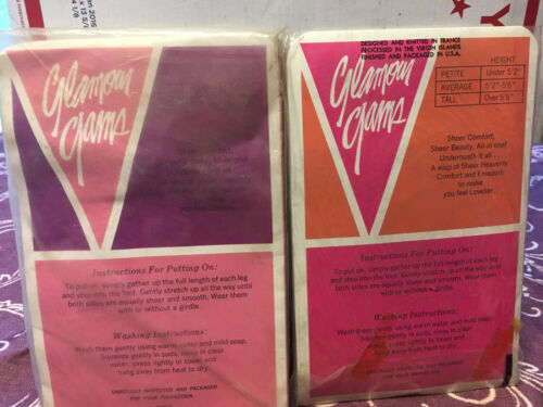 various colors /& sizes Glamour Gams two pairs Vintage nude pantyhose w// model