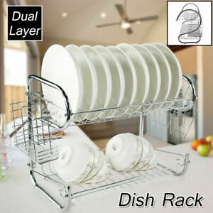 Kitchen-Dish-Cup-Drying-Rack-Holder-Sink-Drainer-2-Tier-Dryer-Stainless-Steel-US