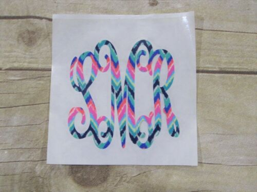 DIY Iron On Monogram Bold Script Zigzag Pattern Vinyl Pick Your Size SHIPS FREE!