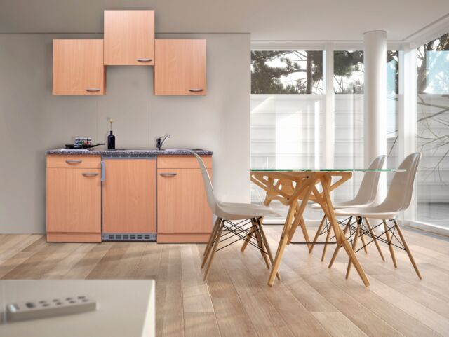 Miniküche Mit Kühlschrank 130 Cm : Respekta singleküche küchenzeile cm buche buche nachbildung