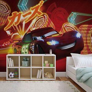 Disney wallpaper mural for children 39 s bedroom lightning for Cars movie wall mural