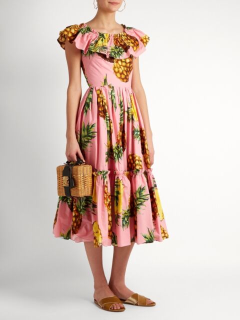 $1995 NWT Dolce & Gabbana Pineapple Print Ruffled Cotton Poplin Midi Dress Pink