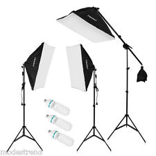 Photography Studio Soft Box Continuous Lighting Softbox Light Stand Kit 2000W US