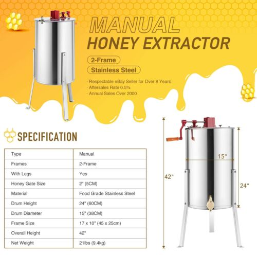 "2 Frame Manual Honey Extractor Beekeeping Honeycomb Drum 24/"" Stainless Steel//SS"