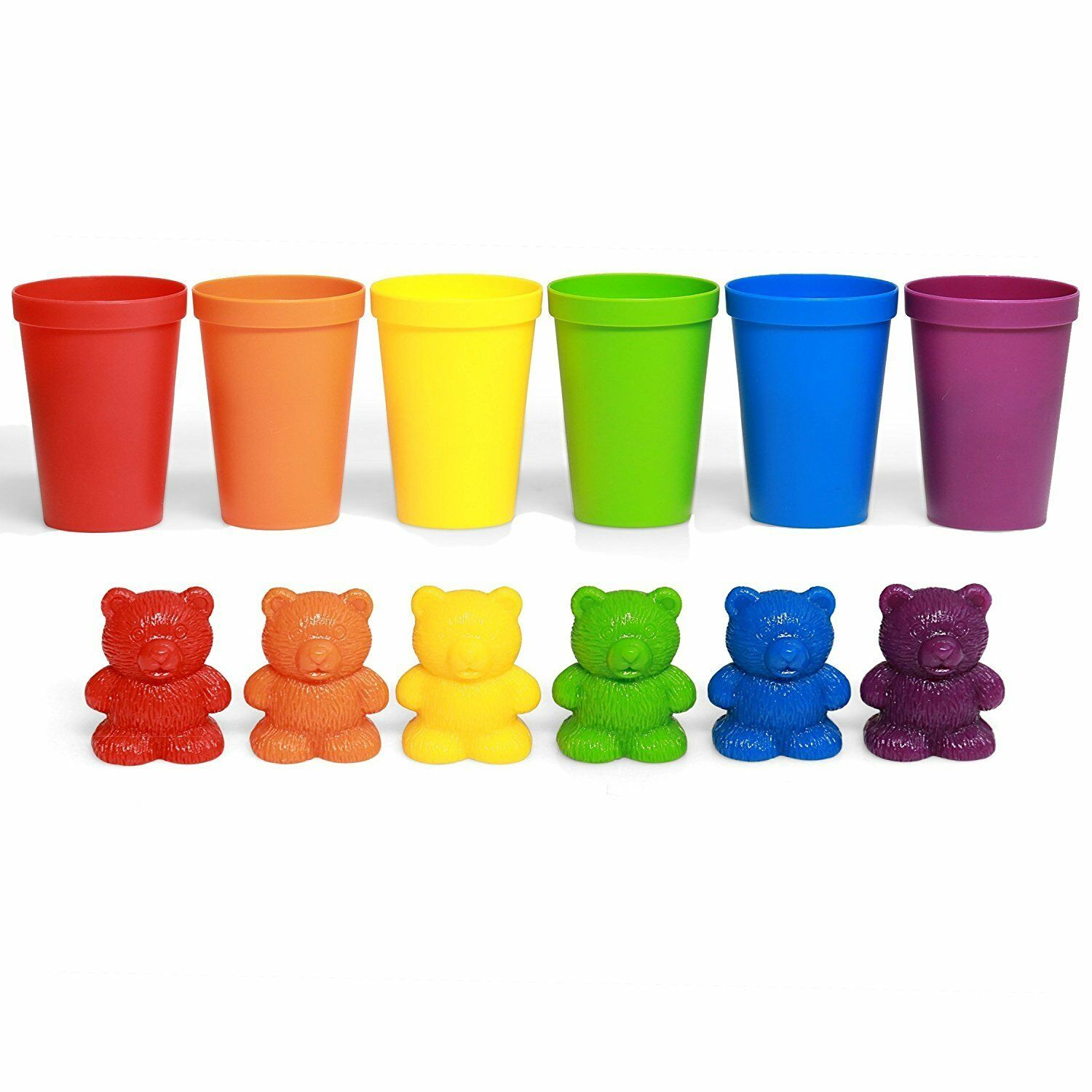 72 Rainbow Colored Counting Bears with Cup for Children Learning Education Toys 2