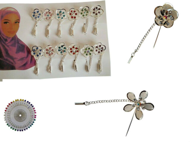 6pcs BROOCH PIN RHINESTONE DIAMANTE CRYSTAL COLOURS FLOWER NEW HIJAB Berry Pins