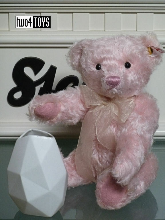 STEIFF Ltd ROSE TEDDY BEAR WITH ROSENTHAL VASE 23cm/ 9.2in. EAN 006760 NIB
