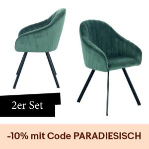 Samt Stuhl Grün 2er Set Esszimmerstuhl Wohnzimmer Stühle Beine Schwarz