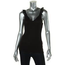 Guess 5307 Womens Black Ribbed Knit Lace Trim V-Neck Tank Top Shirt S BHFO