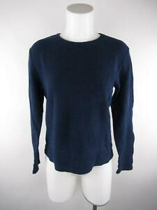 Sonoma-Women-039-s-sz-M-Solid-Blue-Cotton-Crewneck-Long-Sleeve-Thermal-Knit-Top