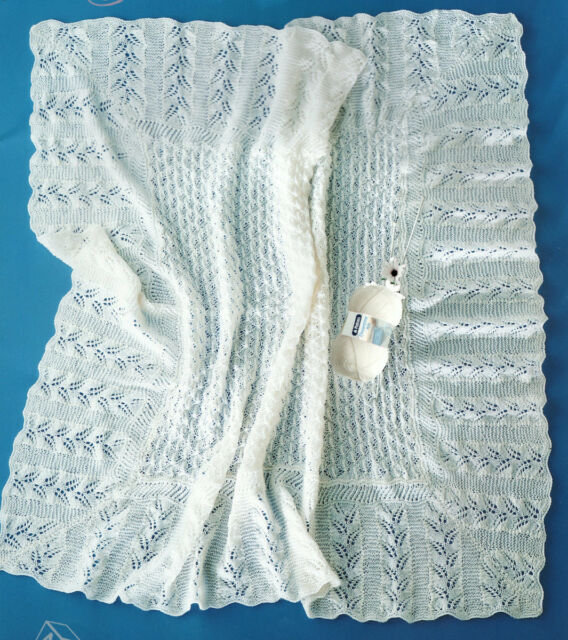 Square Baby Shawl With Diagonal Fern Lace Border 3ply Knitting