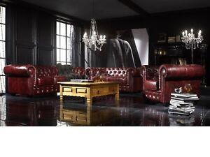 Chesterfield Sofa Echtleder Rot 1 2 3 Couch Garnitur Wohnmobel