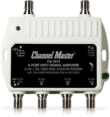 4 Port Splitter Digital Signal Booster HDTV Antenna & Cable TV Amplifier CM-3414