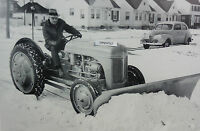 12 By 18 Black & White Picture Ford Tractor n With Snow Plow