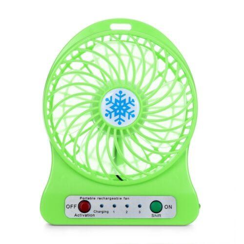 Portable Rechargeable LED Light Fan Air Cooler Mini Desk USB 18650 Battery Fans