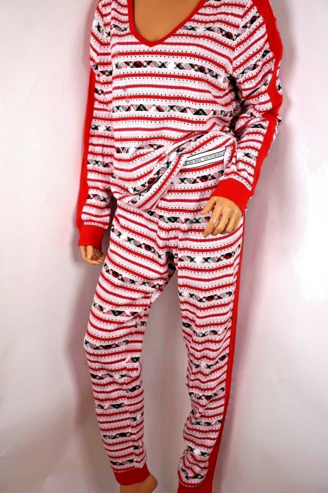 2 PC VICTORIA'S SECRET PINK SLEEP THERMAL PAJAMA HENLEY TOP PANT L X HOLIDAY RED
