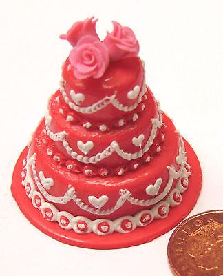 1:12 Scale 3 Tier Decorated Wedding Cake Tumdee Dolls House Miniature Food ZB