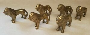 Brass-Lion-Placecard-Holders-Lot-of-6-Unique-Regal-Card-Holders