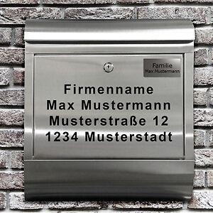 EDELSTAHL BRIEFKASTEN GRAVUR NAMENSCHILD FIRMENSCHILD HAUSNUMMER ...