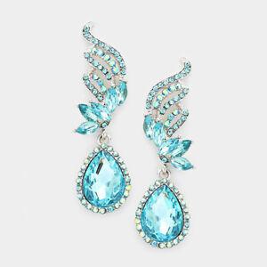 Image Is Loading Chandelier Crystal Rhinestone Evening Teardrop Dangle Drop Earrings