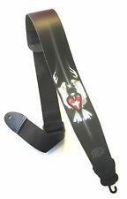 "Leather guitar strap 3"" (heart) Design"