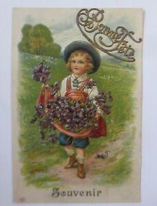 Geburtstag, Kinder, Mode, Blumen, 1907, Prägekarte ♥ (65548)