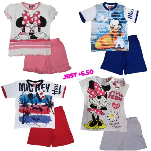 Boys Girls Pjs Minnie Mickey Mouse Disney Pyjamas Pajama pj Short Sleeves Summer
