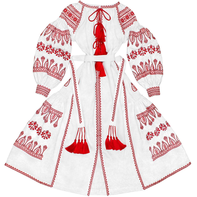 Vestido blancoo Bordado Bohemio-ucraniano étnico  Vyshyvanka con Cuñas. todos Los Tamaños  barato en alta calidad