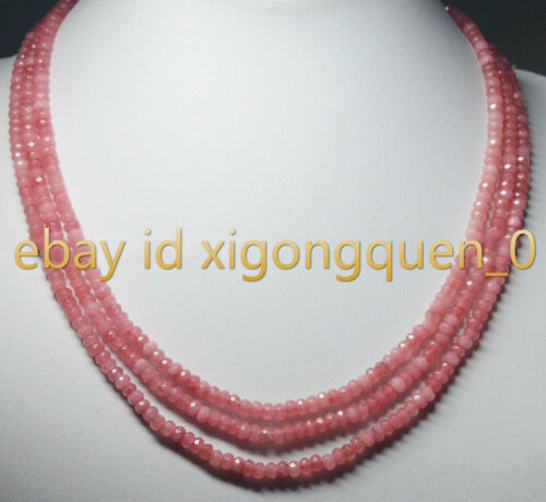NATURAL 3 Rows 2X4mm FACETED Pink Rhodochrosite BEADS NECKLACE 18-20/'/'