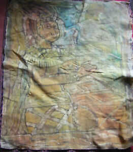 Large-Vintage-Fabric-Batik-Picture-Painting-Ideal-for-Framing-35-039-039-X-29-039-039